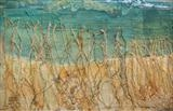Elements of the shore... detail by Amanda Hislop, Textiles, mixed media and stitch on canvas