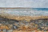 Shoreline seascape by Amanda Hislop, Textiles, Acrylic paint and markal with stitch